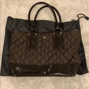 Burberry nylon and leather tote bag